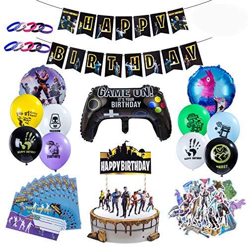 Herefun Artículos de Fiestas para Fanáticos de los Videojuegos, Cumpleaños de Tema de Videojuegos Kit de Suministros para Fiestas, Cumpleaños Decoraciones con Globos Banners, 53 Piezas