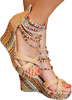 getmorebeauty Women's Wedge Sandals with Pearls Across The Top Platform Sandals High Heels