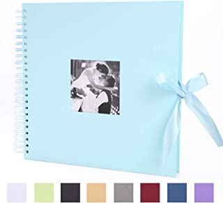 DIY Scrapbook 12x12 inches Photo Album with Cover Photo Pocket 80 Pages Silk Ribbon Album Craft Paper Album for Guest Book Anniversary Wedding Valentines Day