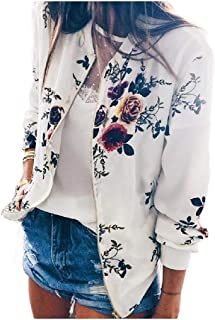 WUFAN Womens Long Sleeve Stylish Zip-Up Patterned Moto Biker Jacket