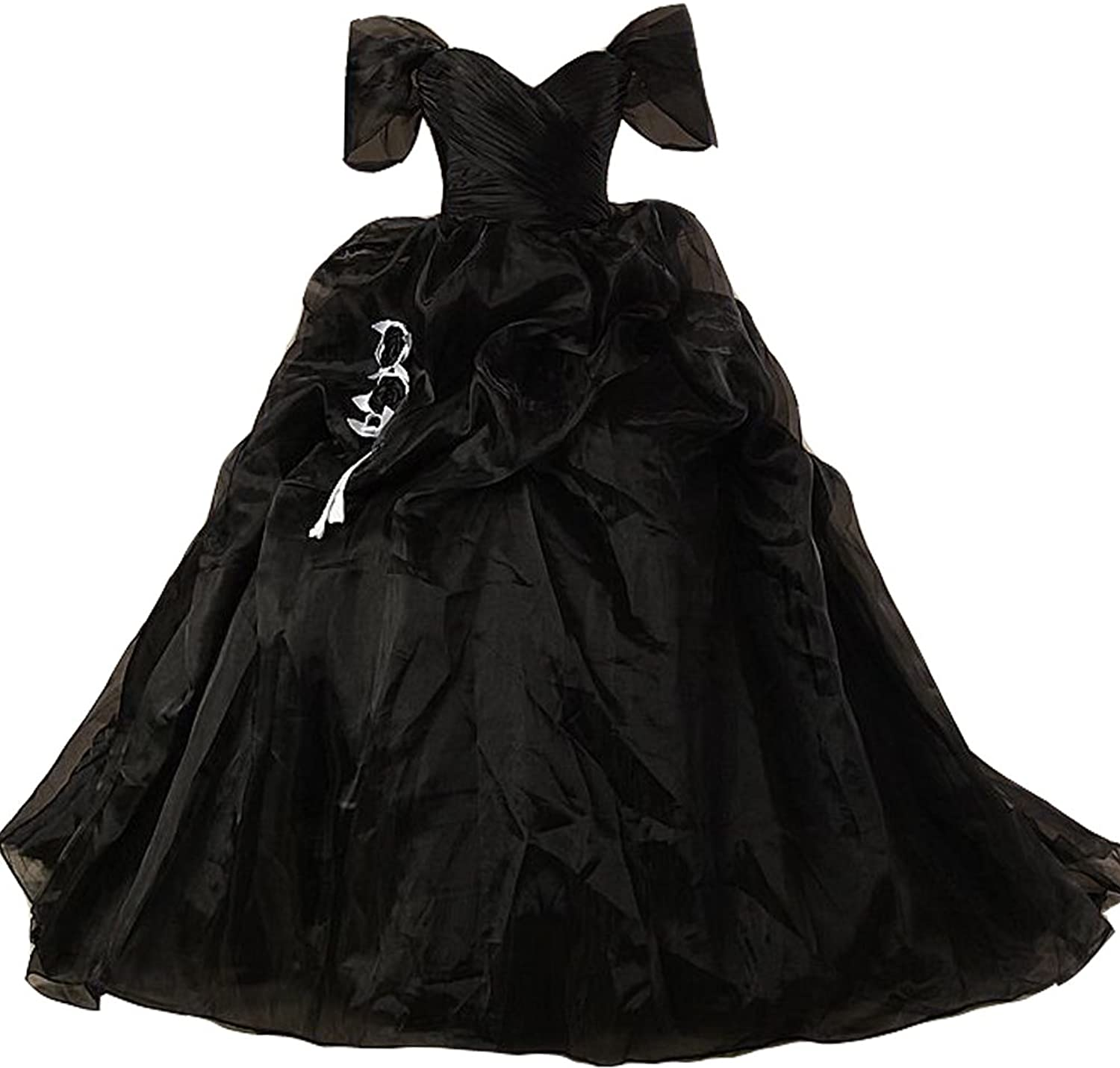 Lemai Vintage Black and White Ball Gown Off Shoulder Gothic Victorian Wedding Dresses