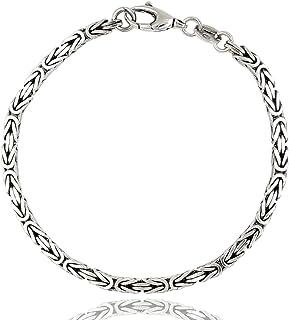 ViMon gioielli| Bracciale snake etnico da uomo, catena maglia bizantina, in argento 925 nero anticato. Spessore 3 mm,lungh...