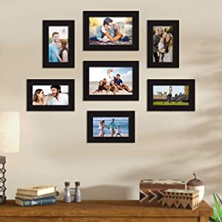 Art Street Saturn Synthetic Wood Wall Photo/Picture Frame for Home Decor with Hanging Accessories (Black, 4x6, 5x7) -Set of 7