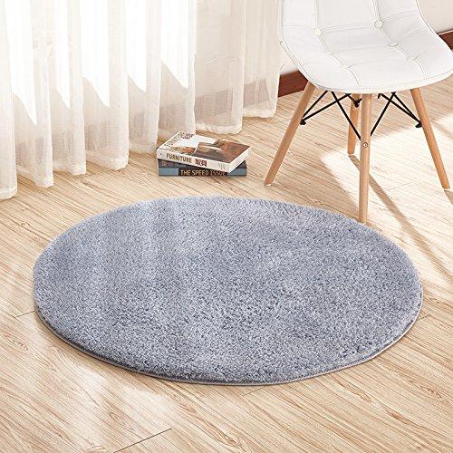 LLWYH R&e weiche Flauschige Kissen Fitness Computer Stuhl Schlafzimmer Wohnzimmer Teppich 1 m Durchmesser r& Blaugrau (r&)