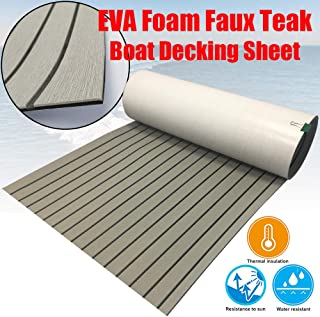 "CHURERSHINING EVA Faux Teak Decking Sheet for Boat Yacht Marine Flooring Mat Non-Slip Mat Self-Adhesive Carpet 35.4 x94.5"" Light Brown/Grey …"