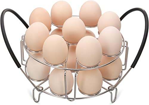 Aozita Multipurpose Stackable Egg Steamer Rack Trivet with Heat Resistant Silicone Handles Compatible for Instant Pot...