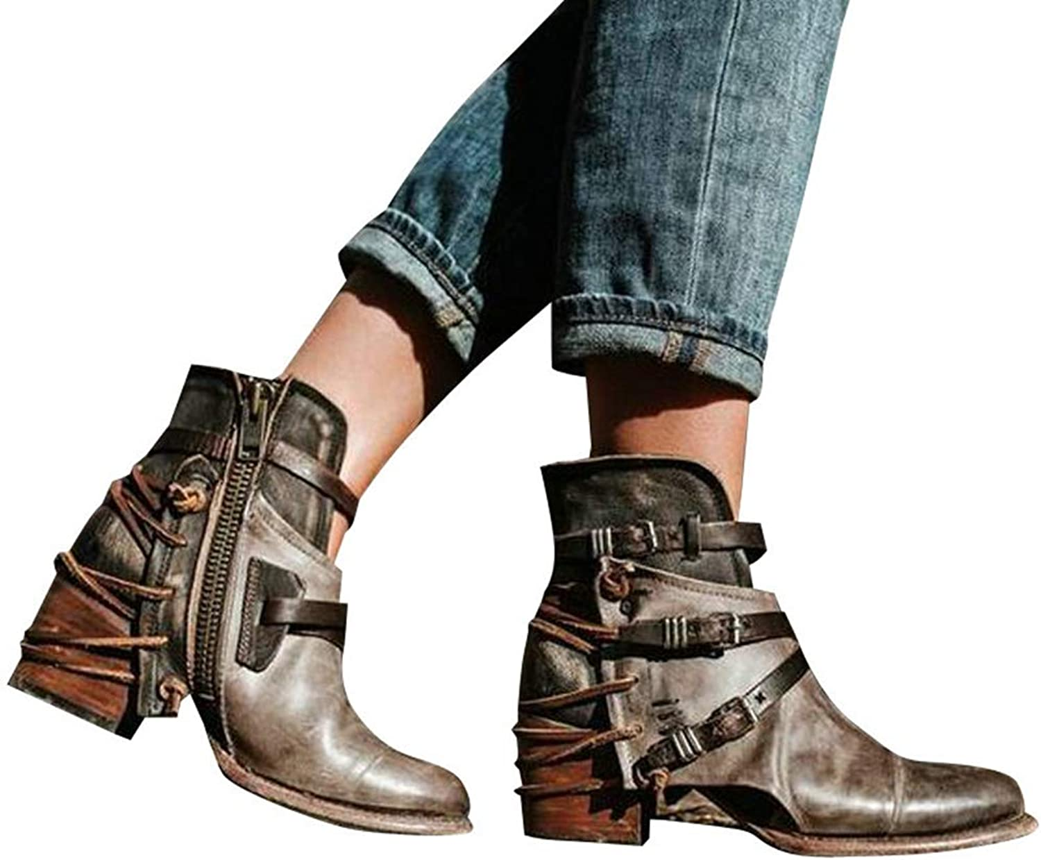 Vintage Belt Buckles Ankle Boots for Women Patchwork Square Heels Round Toe Ankle Riding Boots