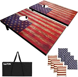 haxTON American Flag MDF Plank Design Cornhole Game Set with Bean Bags and Carrying Case Tailgate Size 3' x 2' Boards (American Flag)