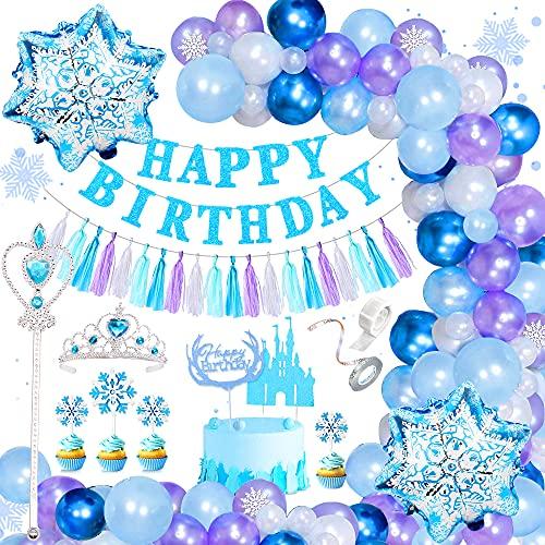 Frozen Decoración Cumpleaños para Niña, Frozen Globo Fiesta Banner Globos de Feliz Cumpleaños Globo Copos de Nieve Frozen Decoración con Princesa Tiara Corona Cetro para Niña