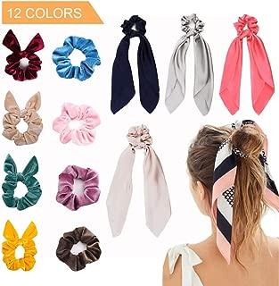 12 Pcs Premium Velvet Hair Scrunchies and Satin Silk Elastic Hair Bands Scarf & Bow Ponytail Holder Ropes Scrunchie Hair Ties for Women VSCO Girl Necessities