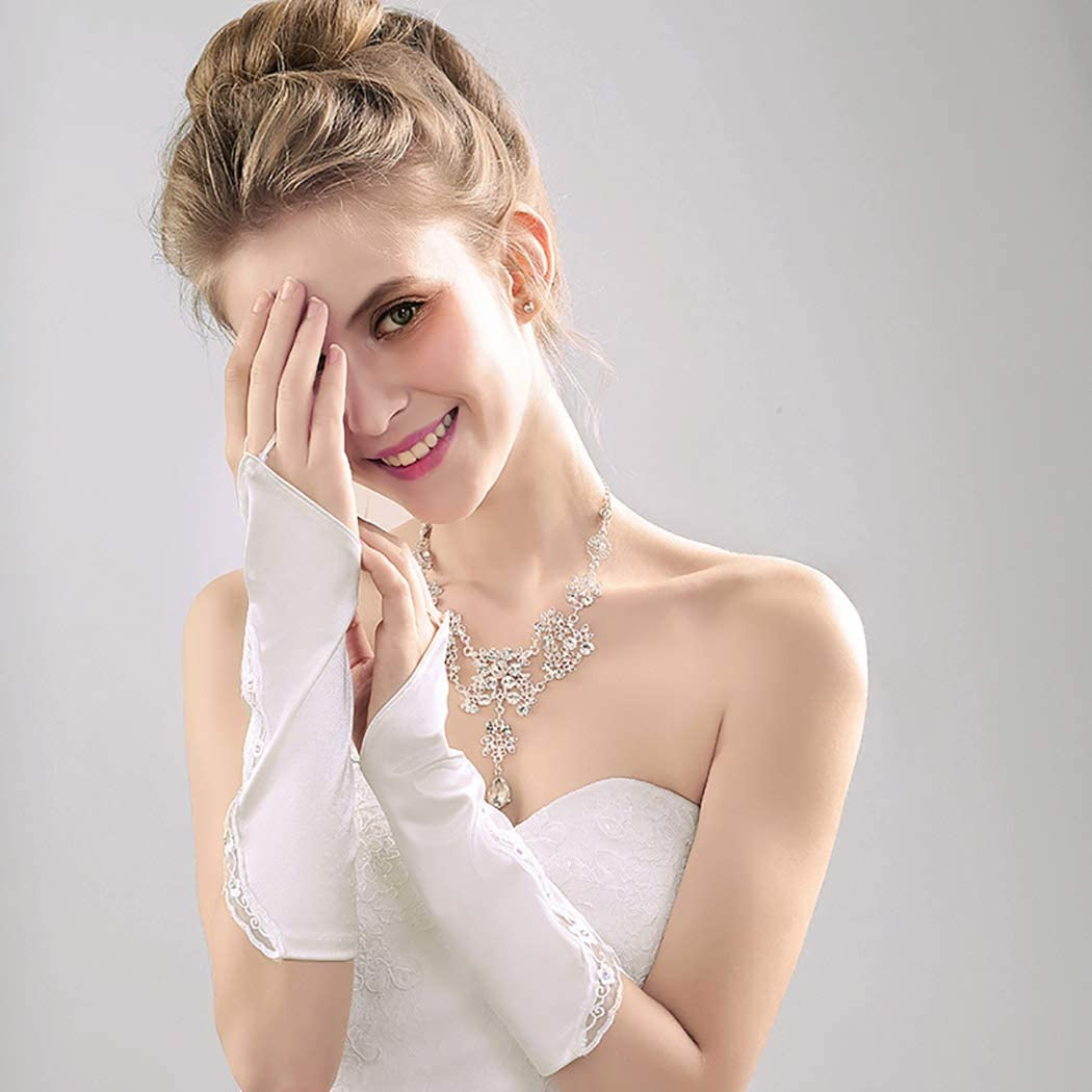 Barode Bridal Wedding Glove Ivory Bead Lace Fingerless Gloves for Women and Girls