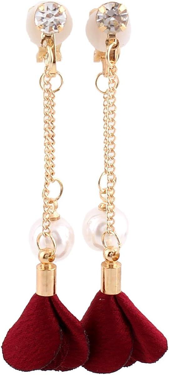 Grace Jun Gold Plated Handmade Frabic Flower Simulated Pearl Tassel Clip on Earrings No Pierced for Women