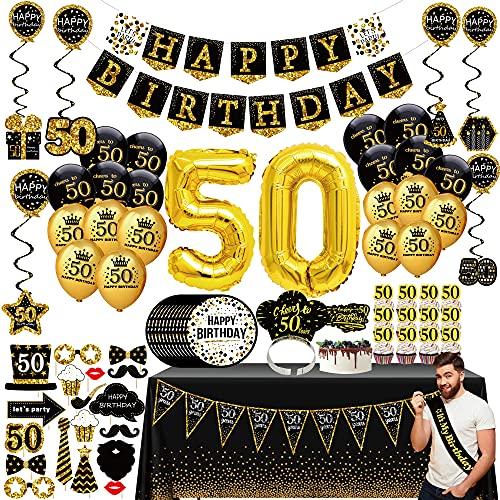 50 geburtstag deko mann frau - (76pack) schwarzes Gold party Banner, Wimpel, Spiral Girlanden, ballons, Tischdecken, Cupcake Topper, Krone, Pappteller, Foto Requisiten, Geburtstag Schärpe, party kit