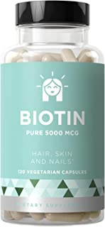 BIOTIN 5000 mcg – Healthier Hair Growth, Stronger Nails, Glowing Skin – 120 Vegetarian Soft Capsules