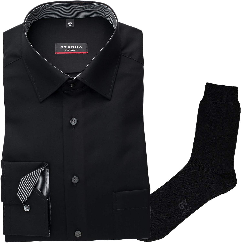 ETERNA ETERNA ETERNA Herrenhemd Modern Fit, Schwarz, Modern Kent, Popeline + 1 Paar hochwertige Socken, Bundle B07J6SJTFH  Mode neue Erfahrung 333d2e
