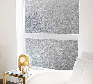 Coavas Privacy Window Film Crystal Pattern Film Glass Film No Glue Static Film Heat Control Anti UV for Living Room Bedroom Restroom Bathroom Kid's Room 17.7x78.7 inches