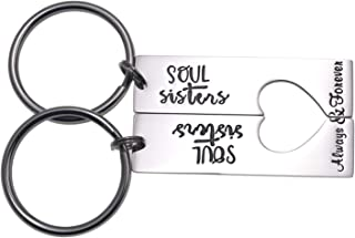 Soul Sister Keychains for 2 Always & Forever Sister Keychain Jewelry for Women Sister Gift Best Friends Key Chain Set