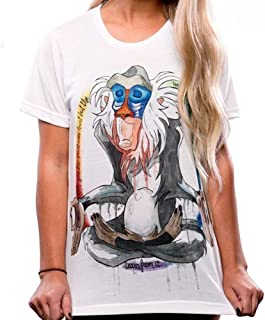 Dreamstar Women's Cartoon Rafiki Print Summer Short Sleeve Soft Comfortable T Shirt Tops