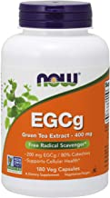 NOW Supplements, EGCg Green Tea Extract 400 mg, Free Radical Scavenger*, 180 Veg Capsules