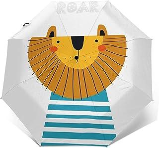 Paraguas Plegable Automático Impermeable Lema de León de Dibujos Animados Lindo Animal, Paraguas De Viaje Compacto A Prueb...