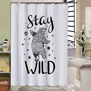 Bear,Bathroom Shower Curtains Durable Waterproof Fabric Bath Curtain Sets with 12 Hooks,69