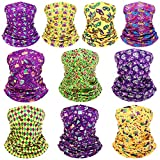 10 Pieces Mardi Gras Neck Gaiter Carnival Printed Balaclava Face Covering, 6 Pieces Adult Balaclava Bandana 4 Pieces Children Face Scarf for Carnival Party Favor