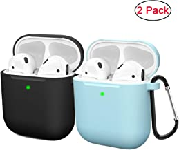 Compatible AirPods Case Cover Silicone Protective Skin for Apple Airpod Case 2&1 (2 Pack) Black/Blue