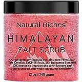 Natural Riches Himalayan Salt Exfoliating Body scrub Lychee Bergamot Essential oil with Vitamin C - (12 Oz / 340 gm) Moisturize Deep Cleansing foot scrub body skin exfoliator