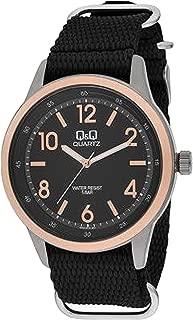 Q&Q Men's Black Dial Synthetic Band Watch - Q922J525Y