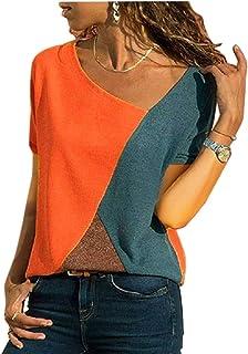 Camisetas Mujer Manga Corta - Blusa de Costura Color de Contraste Cuello Redondo - Moda Camisas Top Patchwork Verano Casual