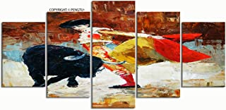 PENGTU Paintings Modern Canvas Painting Wall Art Pictures 5 Pieces Bullfighting Spain Oil Painting Wall Decor HD Printed Posters Frame