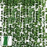 Vegena 12 Stück Efeu Künstlich Girlande Hängend Efeugirlande Künstlich 84 Ft künstliche Pflanze mit Nylon Kabelbinder für Büro Küche Garten Party Wanddekoration