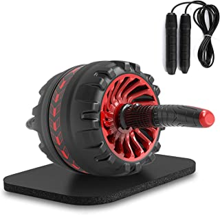 Ab Roller Wheel Workout Equipment-3-in-1 AB Wheel Roller Kit Abs Roller Pro with Jump Rope and Knee Pad Perfect Home Abdom...