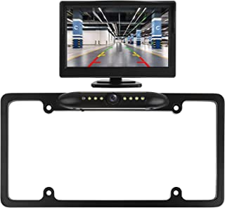 $68 » Peojek Wireless Backup Camera, 5 inch Car Vehicle Rearview Mirror Monitor, IP67 Waterproof Car License Plate Wireless Back...