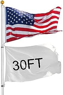 MRT SUPPLY 30FT Flag Pole Aluminum Telescopic Flagpole Kit 3x5' U.S Flag Fly 2 Flag with Ebook