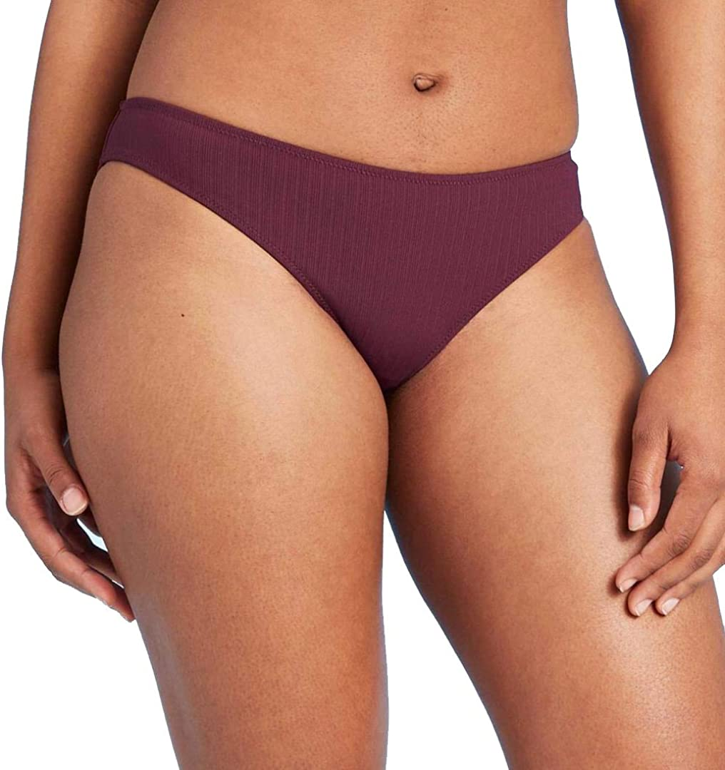 Shade & Shore Women's Ribbed Cheeky Bikini Bottom (Boysenberry)