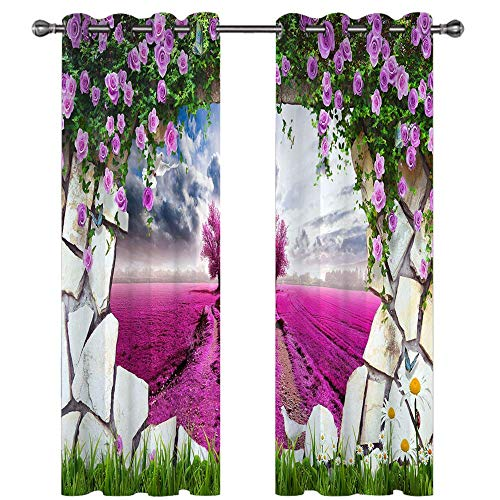 Michance 3D Blackout Curtains Fashion Simple Home Decoration Curtains Suitable For Curtains For Kitchen, Bedroom, Balcony 2 Pieces