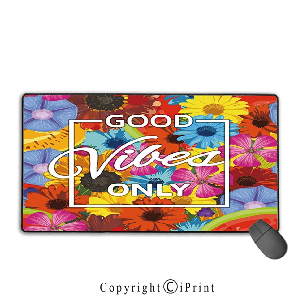Mouse pad with Lock,Good Vibes,Exotic Blossoming Flowers in Lively Colors Spring Summer Season Tropic Accents Decorative,Multicolor,Ideal for Desk Cover, Computer Keyboard, PC and Laptop,15.8