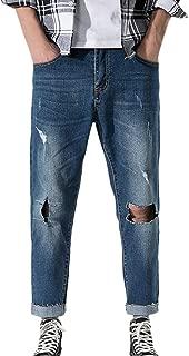 Broken Hole Straight Men's Jeans Loose Large Size Casual Vintage Classic Denim Long Pants Retro Street Trousers
