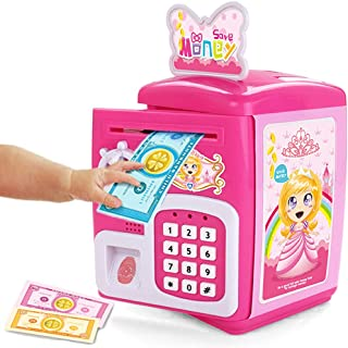 FSTgo Kids Learning Toy Piggy Bank ATM Safe Bank Electronic Password Money Save Cash Coin Can Storage Box Educational Toys Gifts for Age 3+ Children Boys Girls