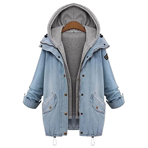 e09c227451 Milumia Women s Hooded Drawstring Boyfriend Trends Jean Swish Pockets Two  Piece Coat Jacket