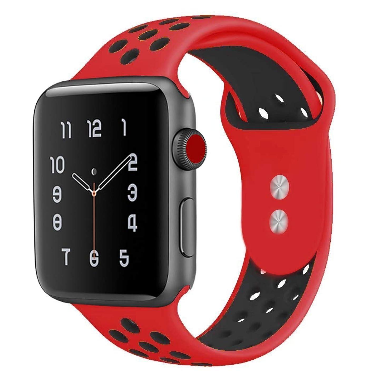 美的八百屋さんおびえたTounique ウォッチバンドAppleの時計のストラップのリストバンドのダブルカラー穴あき交換バンド38/42ミリメートルアップルウォッチシリーズ3/2/1 /スポーツエディション15色 (42Mm, 赤+黒)