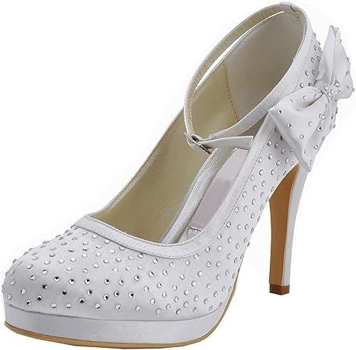 ZHRUI ZHRUI GYMZ691 Femmes Cristaux Satin Soirée De Bal Chaussures De Mariée De Mariage Pompes Sandales Flatfs (Couleuré   Ivory-10cm Heel, Taille   5.5 UK)  sélectionnez parmi les dernières marques comme