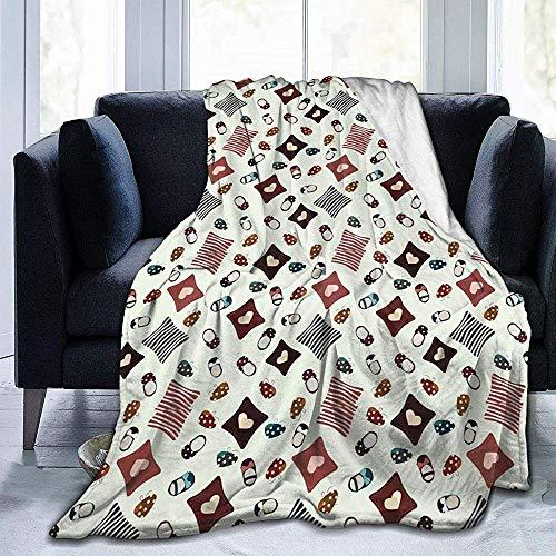alice-shop Kinderschuhe Pattern Ultra-Soft Cozy Micro Fleece Blanket, ideal für Schlafzimmer Office Travel