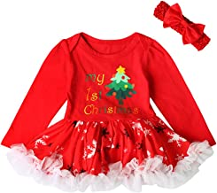 Yying Navidad Baby Ninas Romper Costume Tutu Vestidos Headband Outfits