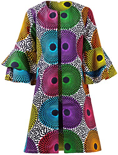 SHENBOLEN Women African Print Jacket Dashiki Traditional Top Dress(A,XXX-Large)