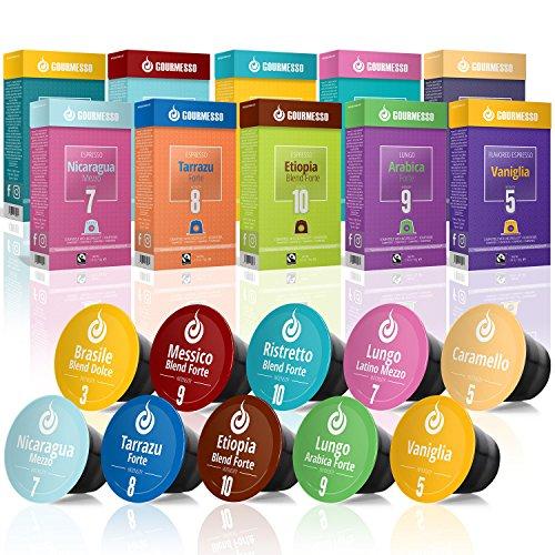 Gourmesso Testbox – 100 Nespresso kompatible Kaffeekapseln – 100 % Fairtrade – 10 verschiedene Sorten in der praktischen Probierbox