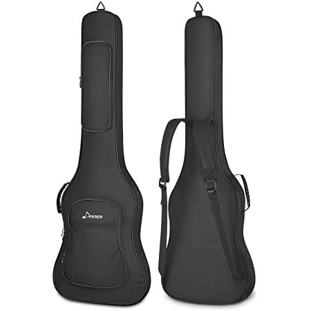Donner 43 Inch Electric Bass Guitar Gig Bag, 0.5 Inch Padded Sponge 600D Thick Ripstop Waterproof Nylon Adjustable Backpack Soft Bass Guitar Case