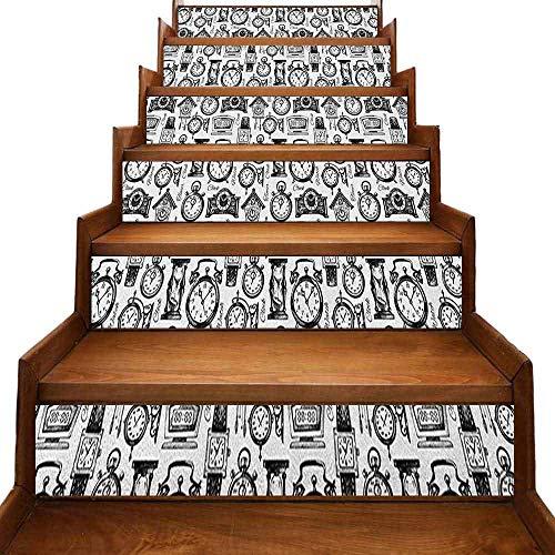 JiuYIBB - Adhesivos para escaleras (autoadhesivos, extraíbles, hechos a mano, diseño antiguo, aparcado delante de un café nostálgico, ilustración retro, multicolor
