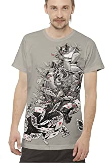 Mens Fantasy T-Shirt Alice in Wonderland Play Your Cards Right Joker Top